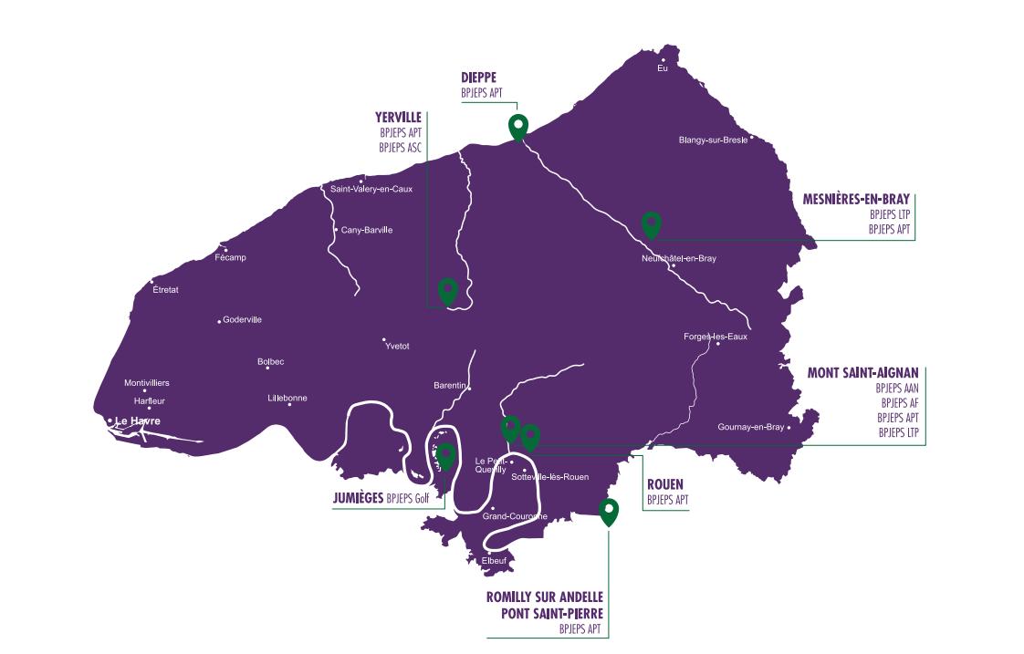 Carte des sites de formation ASRUC